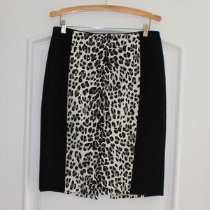 White House Black Market snow leopard pencil skirt